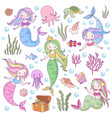 cute mermaids adorable fairytale underwater vector image vector image