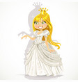 cute princess in a white dress gives a hand vector image