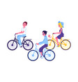 cute young girl riding yellow bike icon vector image vector image