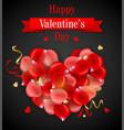 decorative heart of rose petals vector image
