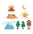 drawing mountain camping graphic set vector image