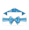 Envelope with Greeting Card and Blue Bow Ribbon vector image vector image