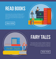 fairy tales flyers with people reading books vector image