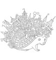fantasy hedgehog coloring page vector image