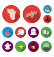 flat and white magic flat icons in set collection vector image vector image