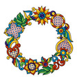 frame with mexican talavera pattern decoration vector image