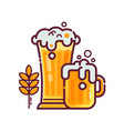 full glass of beer with foam vector image vector image
