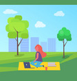 girl having rest sitting on rug in park cartoon vector image vector image