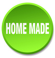 home made green round flat isolated push button vector image vector image
