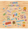 I love shopping setScrapbook setSticker vector image