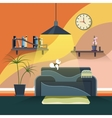 Interior of modern living room in flat design vector image