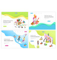 isometric landing page for audit data vector image vector image