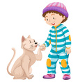 Little boy and pet cat vector image vector image