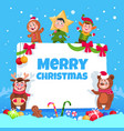 merry christmas greeting card kids in christmas vector image vector image