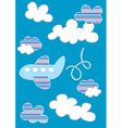 Plane in clouds with stripes vector image vector image
