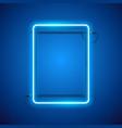 rectangular blue neon frame vector image vector image