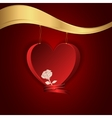 Red heart hung on a gold chain to the gold shelf vector image vector image