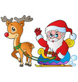 santa claus with sledge and deer vector image vector image