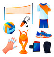 set valleyball equipment or sport accessories vector image vector image