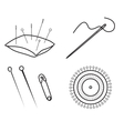 Sewing needles and pins vector image vector image