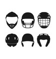 silhouettes of sports helmets on white background vector image