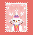snowman gift box and snowflakes merry christmas vector image vector image