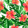 Tropical orange and pink hibiscus flowers seamless