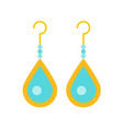 turquoise drop earring jewelry related icon flat vector image vector image