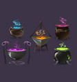witch cauldrons with boiling magic potions vector image