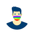young man in protection face mask lgbt pride vector image vector image
