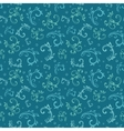 Vintage Blue Green Swirls Leaves Seamless vector image