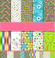 set of 10 seamless bright fun spring patterns vector image