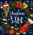 christmas holiday sale gift sketch poster vector image