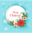 Cute christmas card with poinsettia wreath and