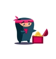 Cute Emotional Ninja Found a Chest with Treasure vector image vector image