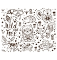 Decorative ornamental woodland animals set vector image