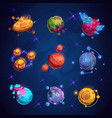 fantasy cartoon planet fantastic alien planets vector image vector image