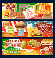 fast food pizza and bbq meat meals vector image vector image