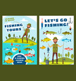 fishing and big fish catch tours vector image vector image