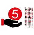 five cents payment icon with 90 bonus pictograms vector image