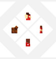 flat icon chocolate set of sweet cocoa shaped vector image vector image