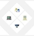 flat icon computer set of pc computing vector image vector image