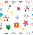 flower seamless pattern on white background vector image vector image