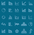 Graph line color icons on blue background vector image vector image
