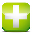 green cross sign for first aid healthcare support vector image vector image