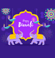 happy diwali font on purple vintage frame vector image vector image