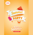 hello summer party card banner with orange vector image vector image