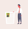 hr man holding cv form choosing resume new job vector image