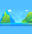 islands with hills and sky background vector image vector image