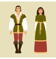 Medieval man and a woman vector image vector image